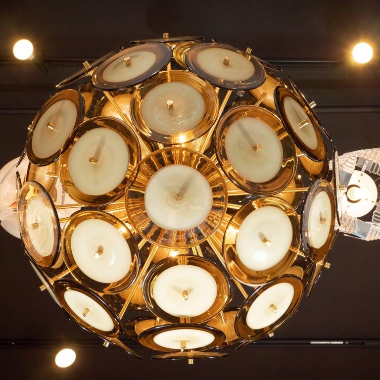 Modernist Polished Brass Vistosi Chandelier with Handblown Murano Topaz Discs For Sale 2