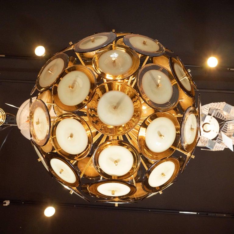 Modernist Polished Brass Vistosi Chandelier with Handblown Murano Topaz Discs For Sale 3