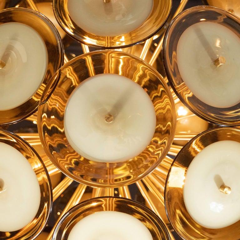 Modernist Polished Brass Vistosi Chandelier with Handblown Murano Topaz Discs For Sale 4