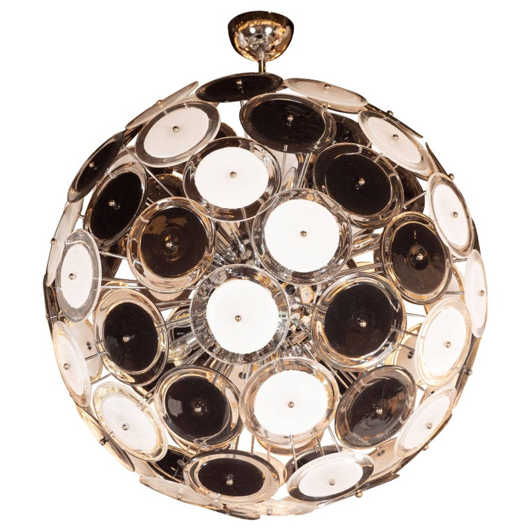 Modernist Polished Chrome Chandelier with Handblown Murano Black and White Discs