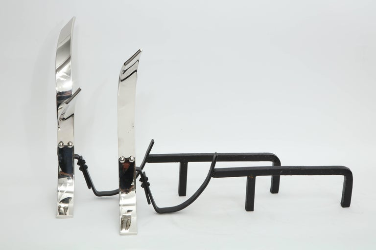 Modernist Polished Nickel Andirons In Excellent Condition For Sale In New York, NY