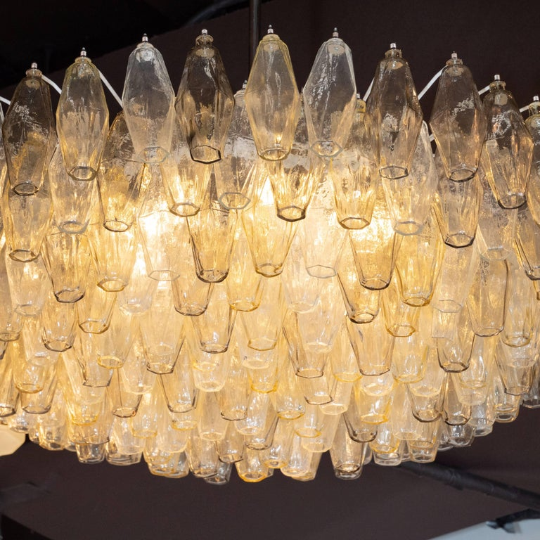 Polished Modernist Polyhedral Chandelier in Topaz, Citrine & Clear Handblown Murano Glass For Sale