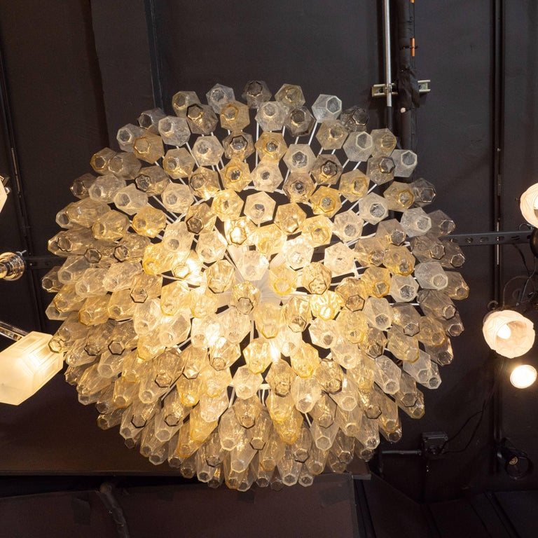 Contemporary Modernist Polyhedral Chandelier in Topaz, Citrine & Clear Handblown Murano Glass For Sale