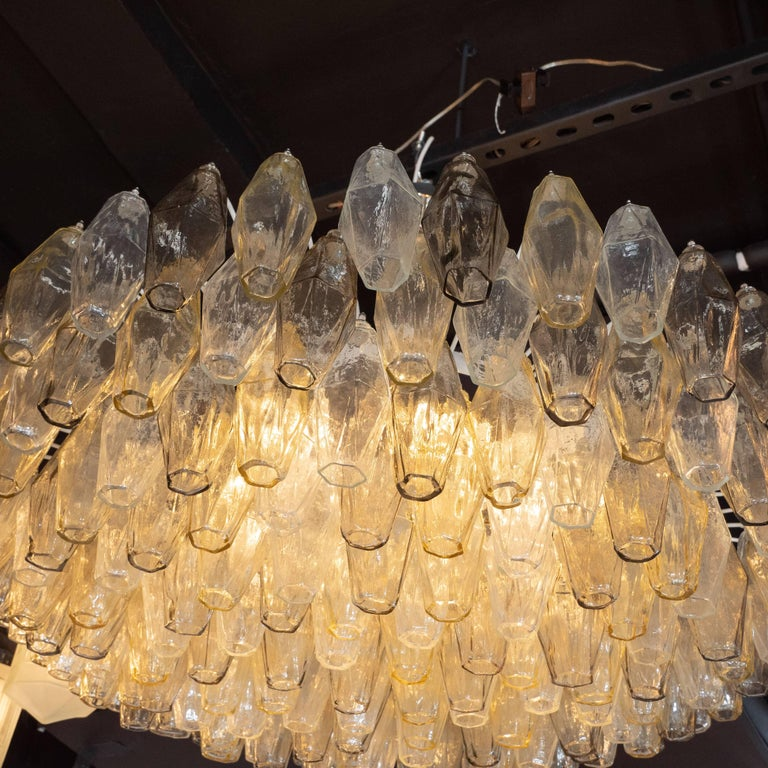 Chrome Modernist Polyhedral Chandelier in Topaz, Citrine & Clear Handblown Murano Glass For Sale