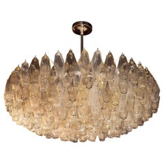 Modernist Polyhedral Chandelier in Topaz, Citrine & Clear Handblown Murano Glass