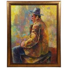 Modernist Portrait Painting Oil on Canvas Seated Man Louis Wolchonok Estate
