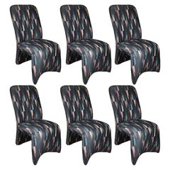 Modernist Postmodern Sculptural Ribbon Ikat Dining Chairs, Set of 6