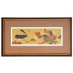 Modernist Print of Bird with Fall Leaves by Charley Harper
