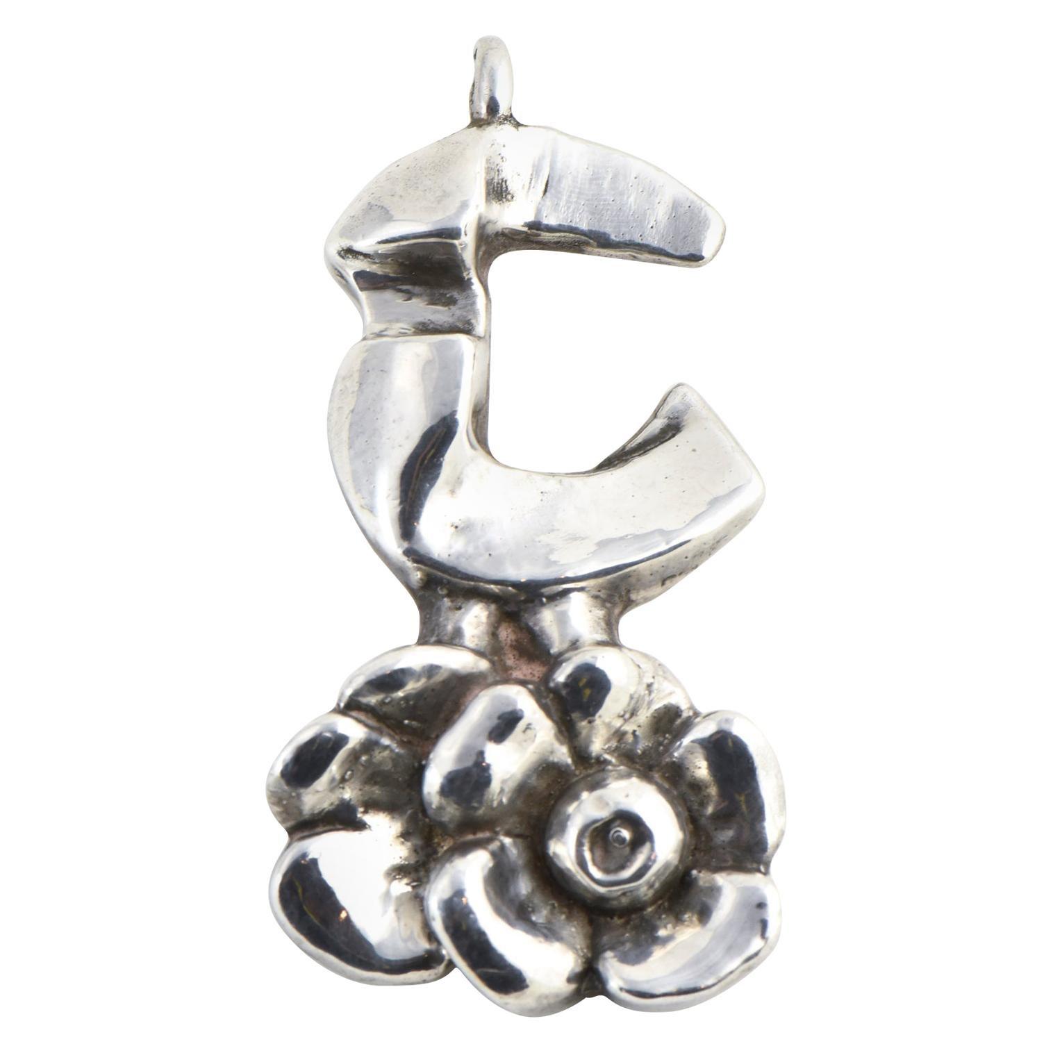 Modernist Rachel Gera Sterling Flower Pendant