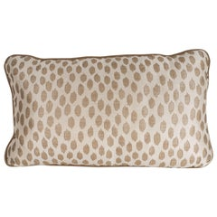 Modernist Rectangular Pillow with Organic Patterned Ecru & Pale Gold Fabric
