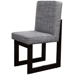 Modernist Rectilinear Ebonized Walnut and Textural Gray Woven Fabric Side Chair