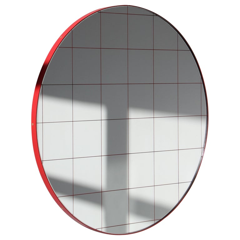 Modernist Red Frame with Red Grid Orbis Round Mirror, Medium, Customizable For Sale