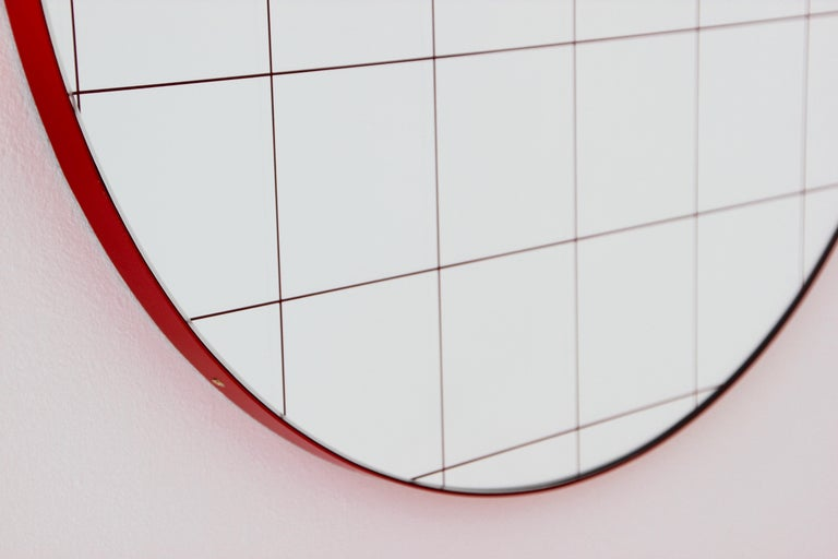 Modernist Red Frame with Red Grid Orbis Round Mirror, Medium, Customizable For Sale 4
