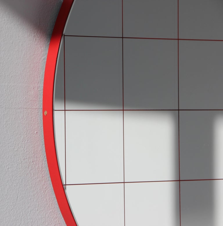 British Modernist Red Frame with Red Grid Orbis Round Mirror, Medium, Customizable For Sale