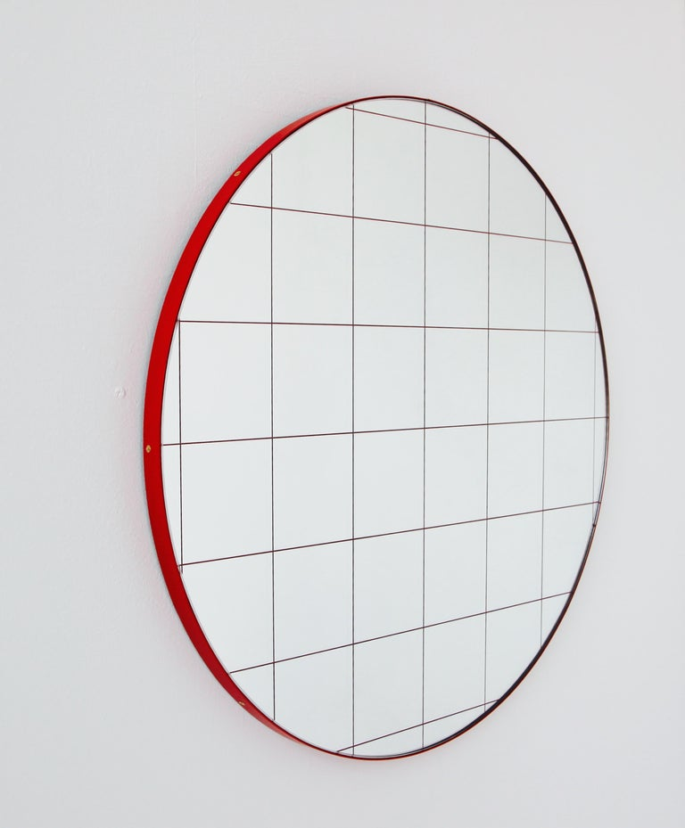 Etched Modernist Red Frame with Red Grid Orbis Round Mirror, Medium, Customizable For Sale