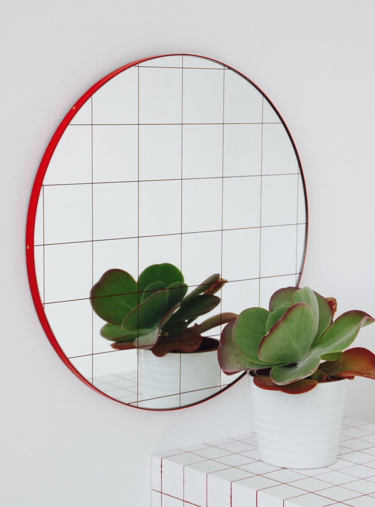 Modernist Red Frame with Red Grid Orbis Round Mirror, Medium, Customizable In New Condition For Sale In London, GB