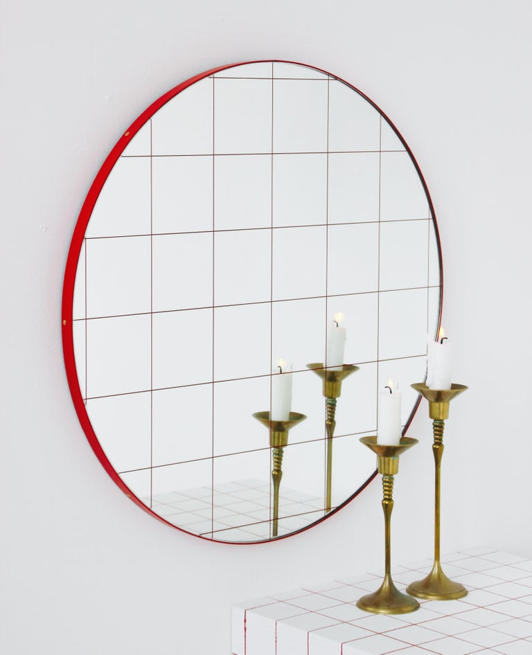 Contemporary Modernist Red Frame with Red Grid Orbis Round Mirror, Medium, Customizable For Sale