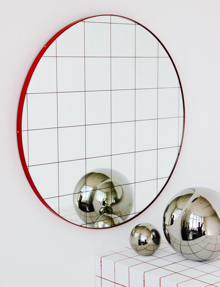 Modernist Red Frame with Red Grid Orbis Round Mirror, Medium, Customizable For Sale 1