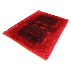 Modernist Red Multi-Color High Pile Large Rya Rug by Desso, 1970's