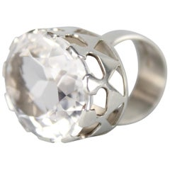 Modernist Ring in Silver and a Large Rock Crystal by Kaplan, Stockholm, 1968