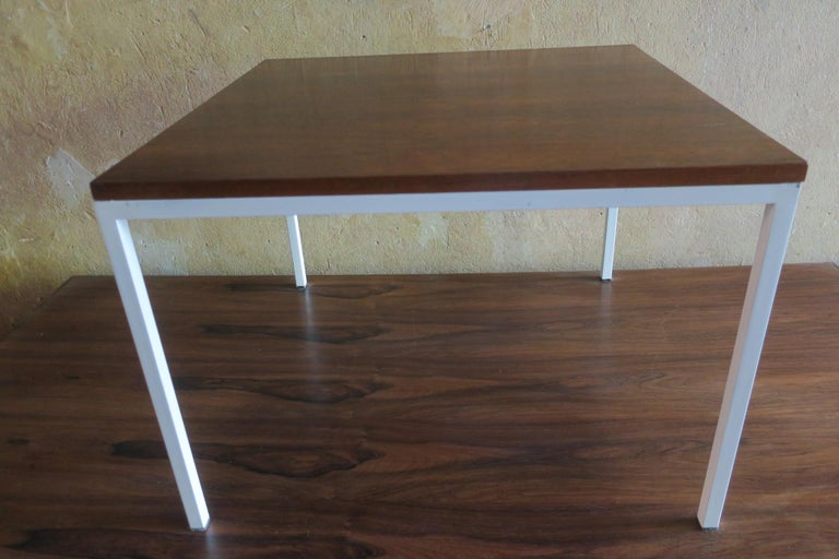 Modernist Rosewood Square Coffee Table with Metal Legs 1970 In Good Condition For Sale In Berlin, DE