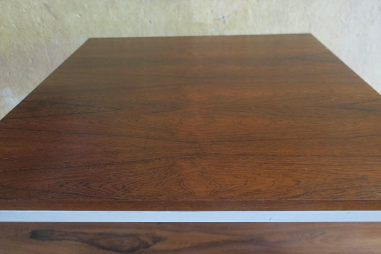 20th Century Modernist Rosewood Square Coffee Table with Metal Legs 1970 For Sale