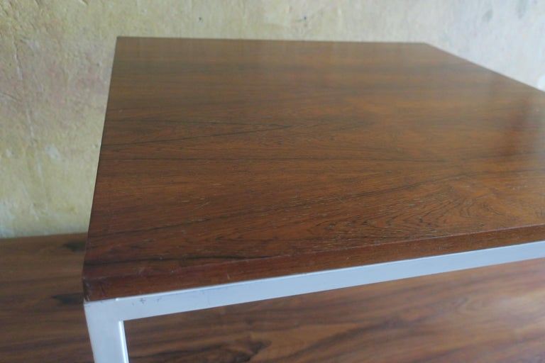 Modernist Rosewood Square Coffee Table with Metal Legs 1970 For Sale 1