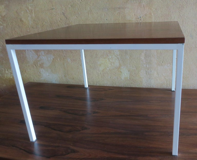 Modernist Rosewood Square Coffee Table with Metal Legs 1970 For Sale 2