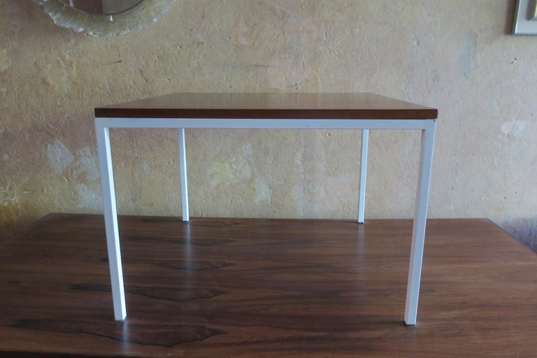 Modernist Rosewood Square Coffee Table with Metal Legs 1970 For Sale 3