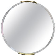Modernist Round Mirror with Bronze Accents by Milo Baughman for Thayer Coggin