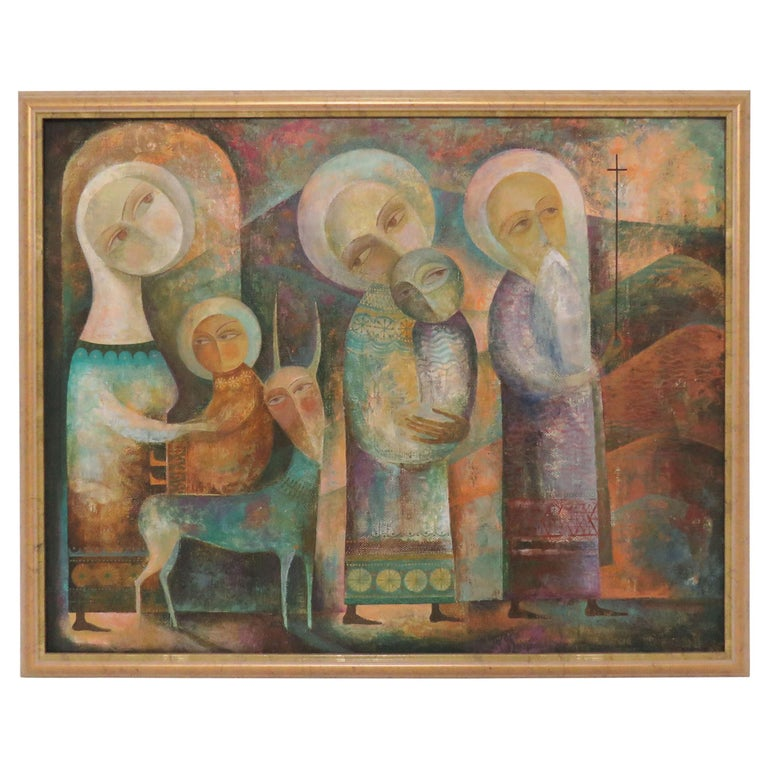 Modernist Russian Icon Painting by Armenian Artist A. Mouradian For Sale