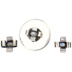 Modernist Sam Kramer Moonstone & Sterling Silver Demiparure Brooch & Earring Set