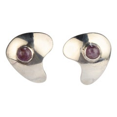 Modernist Sam Kramer Sterling Silver and Amethyst Clip-On Earrings