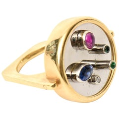 Modernist Sapphire, Ruby, Emerald and 18 Karat Yellow and White Gold Dome Ring