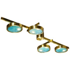 Modernist Satin Brass and Hand Blown Frosted Murano Acqua Glass Chandelier