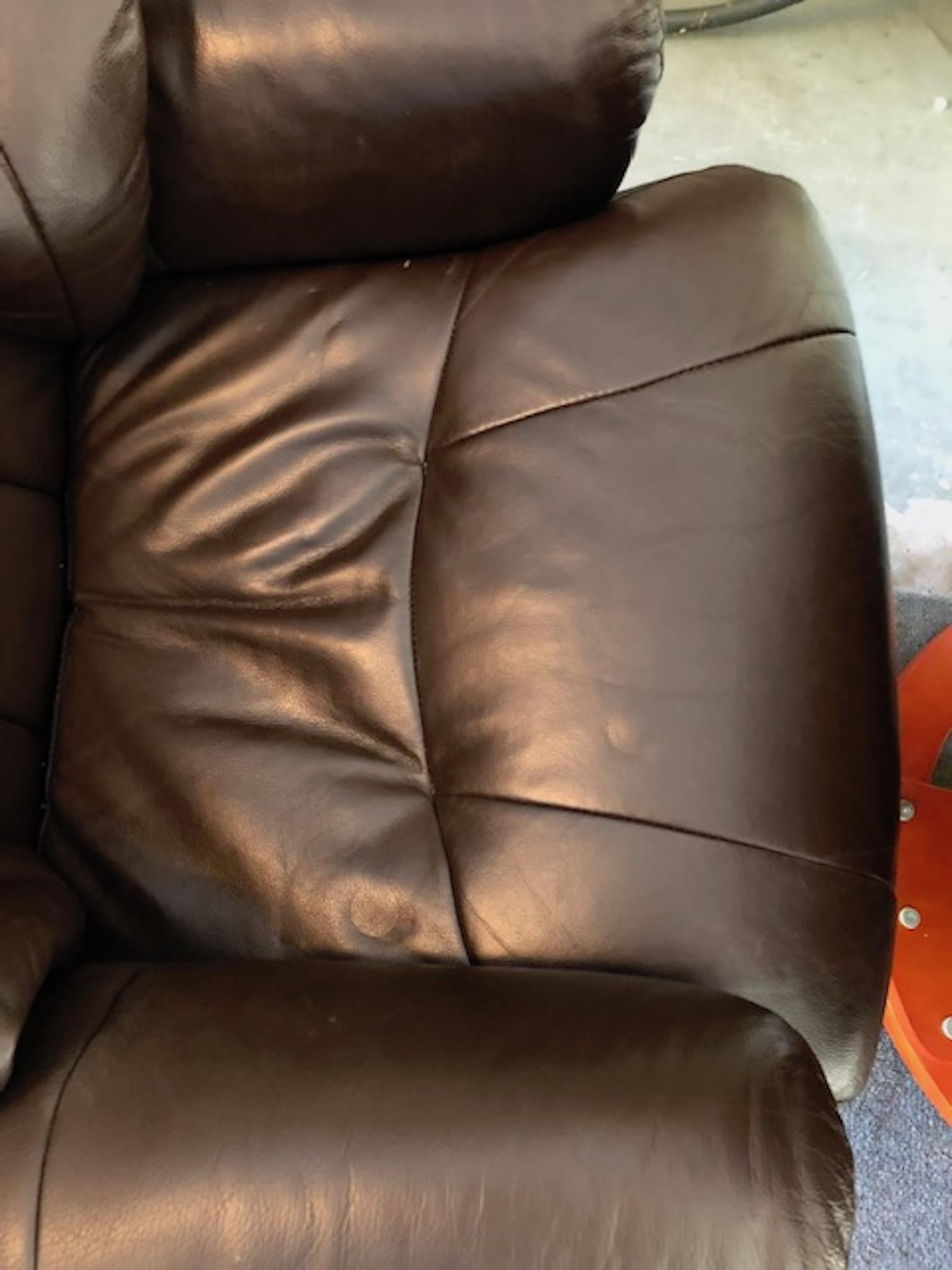 Modernist Scandinavian Leather Swivel Chair With Ottoman