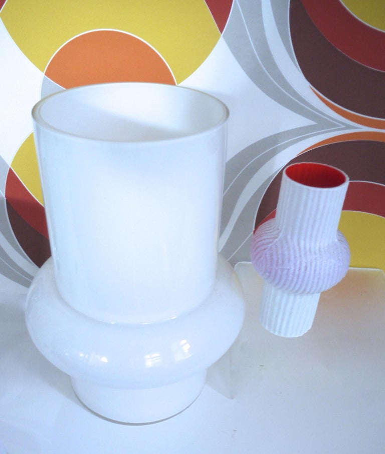 Italian Modernist Scandinavian/Murano Space Age White Glass Vases from Late 1950s-1960s For Sale