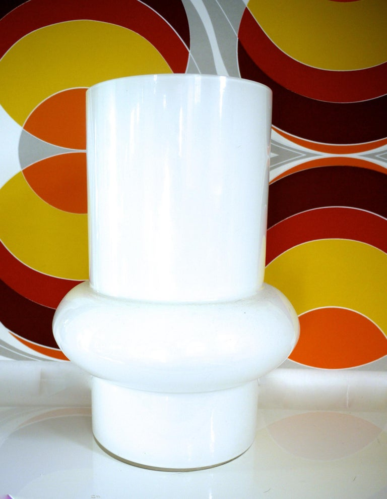 Mid-20th Century Modernist Scandinavian/Murano Space Age White Glass Vases from Late 1950s-1960s For Sale