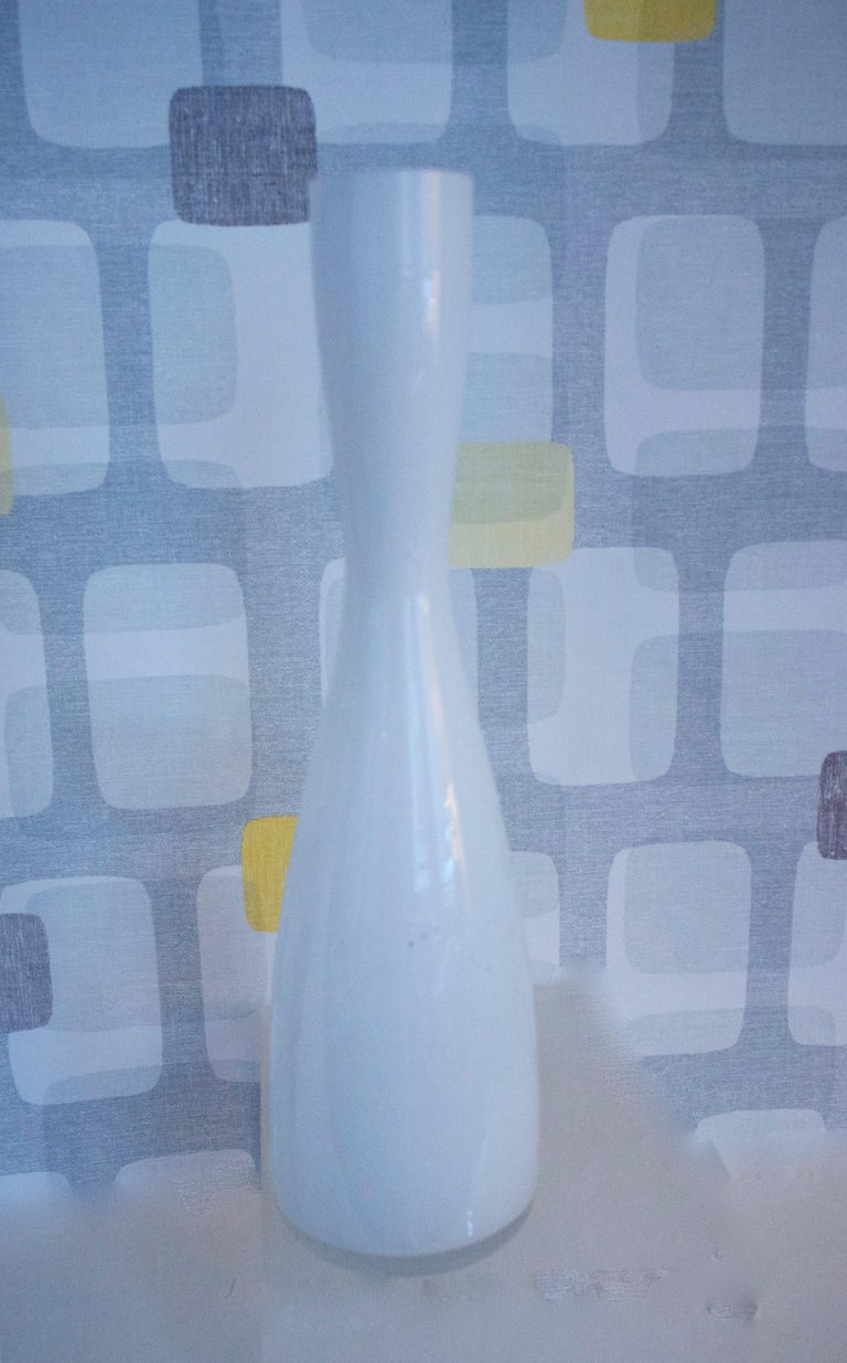 Modernist Scandinavian/Murano Space Age White Glass Vases from Late 1950s-1960s For Sale 1