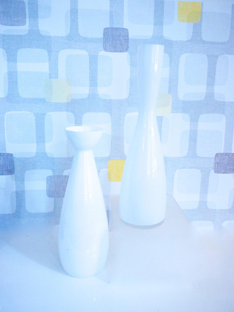 Modernist Scandinavian/Murano Space Age White Glass Vases from Late 1950s-1960s For Sale 2