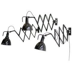 Modernist Scissor Lamps by Wilhelm Bader, circa 1930s