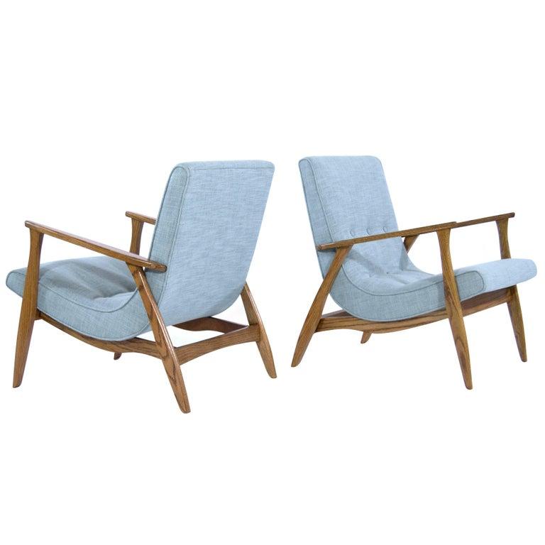 Modernist Scoop Oak Lounge Chairs in Linen