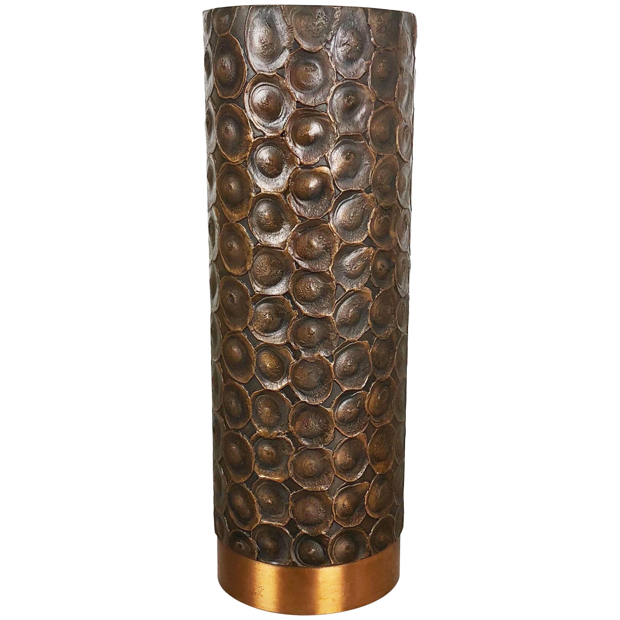 Modernist Sculptural Brutalist Copper Vase Auböck Style, Austria, 1950s