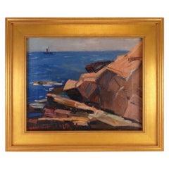"Modernist Seascape Oil Painting Titled ""Monhegan"" by Karl Schmidt, Dated 1955"