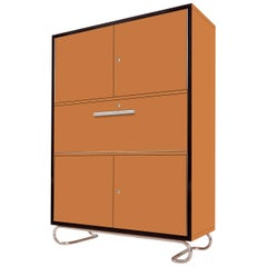 Modernist Secretary Cabinet, Lacquered Wood, Chrome-Plated Metal, Customizable