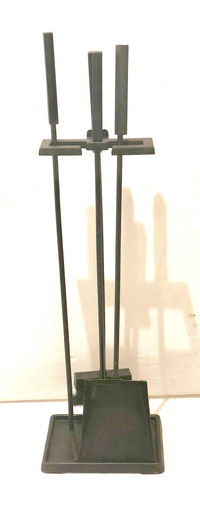 Mid-Century Modern Modernist Set of Fireplace Tools in Patinated Black Iron For Sale