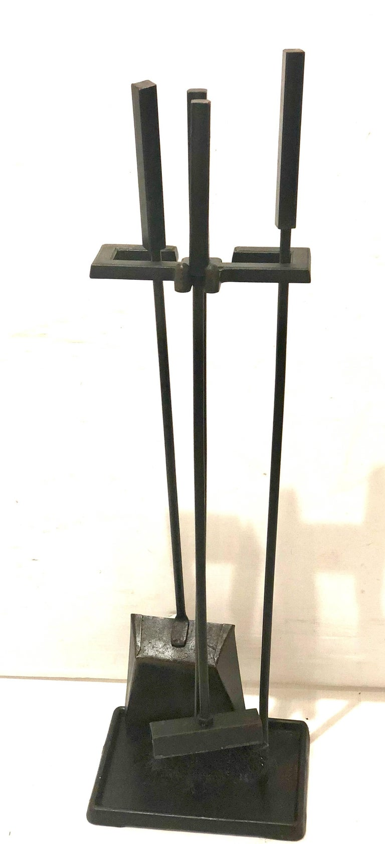 American Modernist Set of Fireplace Tools in Patinated Black Iron For Sale