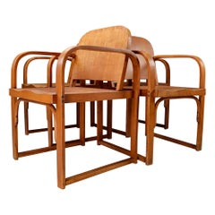 Modernist Set of Four Bauhaus Bentwood Armchairs Made by Tatra in Praque, 1930s
