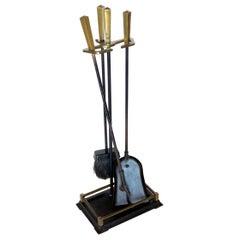 Modernist Set of Patinated Brass and Iron Firetools Set