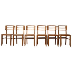 Modernist Set of Six Midcentury French Dining Chairs by Pierre Cruege